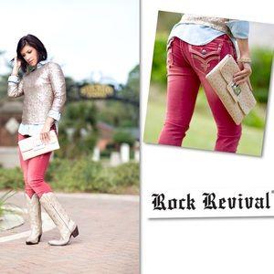 Rock Revival Jeans - ROCK REVIVAL ASHLEY SKINNY RED JEANS SZ 27.